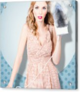 Surprised Housewife With Burnt Out Ironing Board Acrylic Print