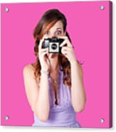 Surprised Woman Taking Picture With Old Camera Acrylic Print