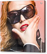 Surprised Young Woman Wearing Fashion Sunglasses Acrylic Print