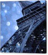 Surreal Blue Eiffel Tower Architecture - Eiffel Tower Sapphire Blue Bokeh Starry Sky Acrylic Print