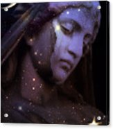 Surreal Celestial Angelic Face With Stars And Moon - Purple Moon Celestial Angel  Acrylic Print