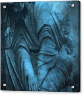 Surreal Cemetery Grave Mourner In Blue Sorrow  Acrylic Print