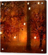 Surreal Fantasy Autumn Woodlands Starry Night Acrylic Print