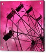 Surreal Fantasy Dark Pink Ferris Wheel Carnival Ride Starry Night - Pink Ferris Wheel Home Decor Acrylic Print