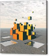 Surreal Floating Cubes Acrylic Print