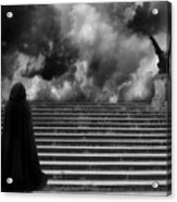 Surreal Gothic Infrared Black Caped Figure With Gargoyle On Paris Steps Acrylic Print