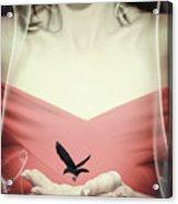 Surreal Image Of Woman With Bird Acrylic Print