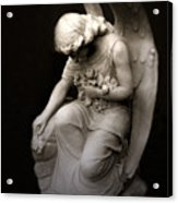 Surreal Sad Angel Kneeling In Prayer Acrylic Print