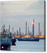 Survey And Cargo Ships Off The Coast Of Singapore Petroleum Refi Acrylic Print
