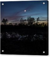 Swamp At Dusk With Moon Acrylic Print