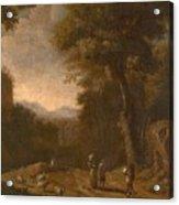Swanevelt, Herman Van Woerden, 1603 - Paris, 1655 Landscape With Travellers And A Shepherd 1635 - 16 Acrylic Print