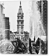 Swann Memorial Fountain In Black And White Acrylic Print