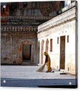 Sweeping Inside Of Amber Palace Acrylic Print