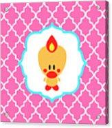 Sweet Angel Bird Cute Pink Trellis Decorative Pillow And Square Wall Art Print Acrylic Print
