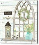 Sweet Life Farmhouse 3 Gothic Window Lantern Floral Shiplap Wood Acrylic Print