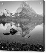 Swift Current Lake Reflection Black And White  Acrylic Print