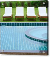Swimming Pool And Chairs Acrylic Print