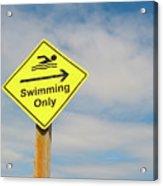 Swimming Sign Acrylic Print