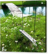 Swing In The Daisies With Bridge Acrylic Print