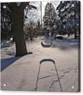Swing Shadow On Snow Acrylic Print
