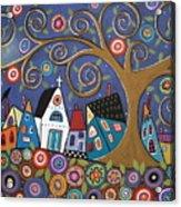 Swirl Tree Village Acrylic Print