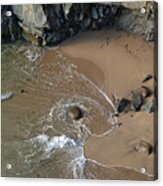 Swirling Surf And Rocks Acrylic Print