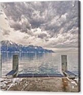 Switzerland, Montreux, Dock On The Lake. Acrylic Print