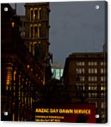 Sydney Clock On Anzac Day At Dawn Acrylic Print