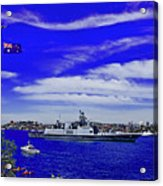 Sydney Harbour And Flying Flag Acrylic Print