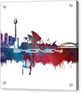 Sydney Skyline City Blue Acrylic Print