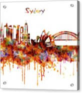 Sydney Watercolor Skyline Acrylic Print