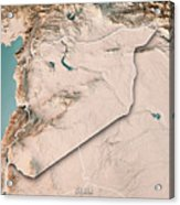 Syria Country 3d Render Topographic Map Neutral Border Acrylic Print