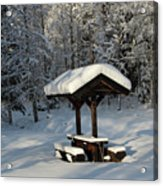 Table By Cross Country Ski Tracks Acrylic Print