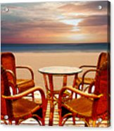 Table For Four At The Beach At Sunset Acrylic Print