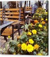 Tables And Chairs With Flowers Acrylic Print