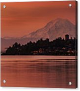 Tacoma Bay Mount Rainier Sunrise Acrylic Print