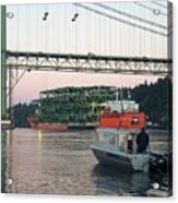 Tacoma Narrows Bridge With Patrol Boat In Foreground Acrylic Print