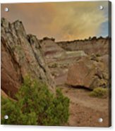 Tail End Of Storm At Sunset Over Bentonite Site Acrylic Print