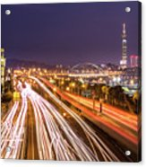 Taipei Light Trails At Night Acrylic Print by © copyright 2011 Sharleen Chao