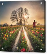 Taking Sunset Pictures Using A Mobile Phone Acrylic Print