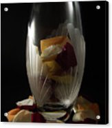 Tall Crystal Vase With Rose Petals Acrylic Print
