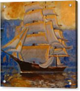 Tall Ship In The Sunset Acrylic Print