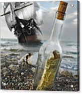Tall Ship Message In A Bottle Acrylic Print