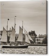 Tall Ship Schooner Pride Off The Historic Charleston Battery Acrylic Print by Dustin K Ryan