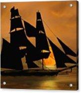Tall Ship With A Harvest Moon Acrylic Print