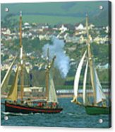 Tall Ships And Steam Trains Acrylic Print