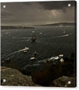 Tall Ships Heavy Rain And Wind In Sydney Harbour Acrylic Print