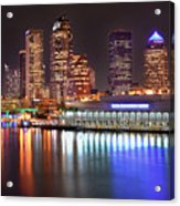 Tampa Skyline At Night Early Evening Acrylic Print