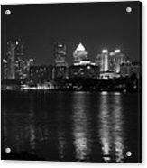 Tampa Skyline South Black And White Acrylic Print