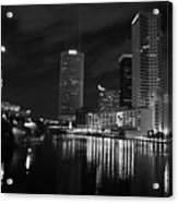 Tampa Skyline West Night Black And White Acrylic Print